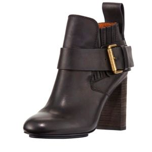 See By Chloe Leather Block Heel Ankle Boot